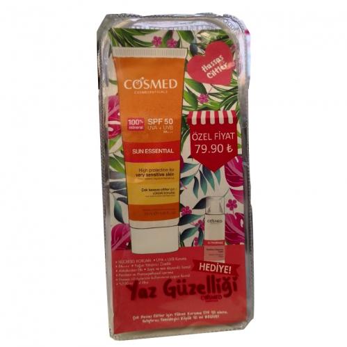 Cosmed Ürünleri - Cosmed Hassas Ciltler için Yüksek Koruma SPF50 Yatıştırıcı Temizleyici Köpük 50ml Hediye