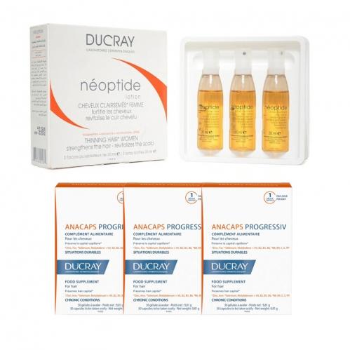 Ducray Ürünleri - Ducray Anacaps Progressiv 30 Kapsül (3 adet) + Ducray Neoptide Kadın Tipi Dökülmeye Karşı Losyon