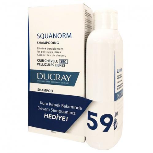 Ducray Ürünleri - Ducray Squanorm Kuru Kepek Karşıtı Şampuan 200ml + Tamamlayıcı Bakım Şampuanı 200ml HEDİYE !