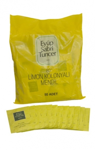 Eyüp Sabri Tuncer - Eyüp Sabri Kolonyalı Mendil Limon 50 Adet Büyük Boy