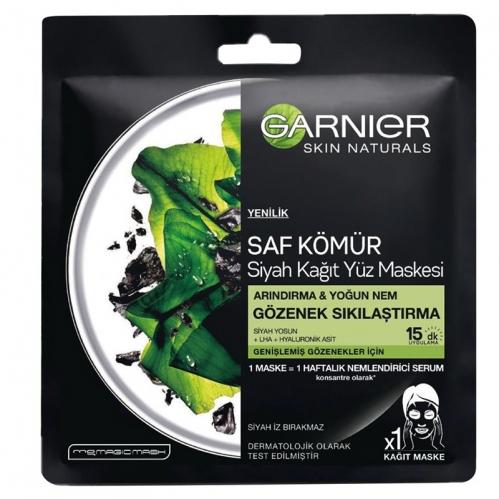 Garnier Ürünleri - Garnier Saf Kömür Siyah Kağıt Yüz Maskesi Gözenek Sıkılaştırma 28gr