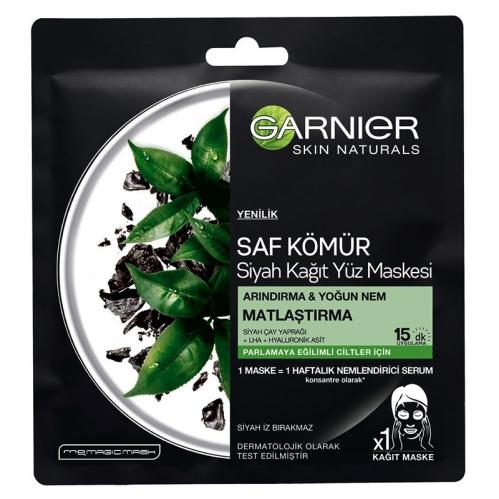 Garnier Ürünleri - Garnier Saf Kömür Siyah Kağıt Yüz Maskesi Matlaştırma 28gr