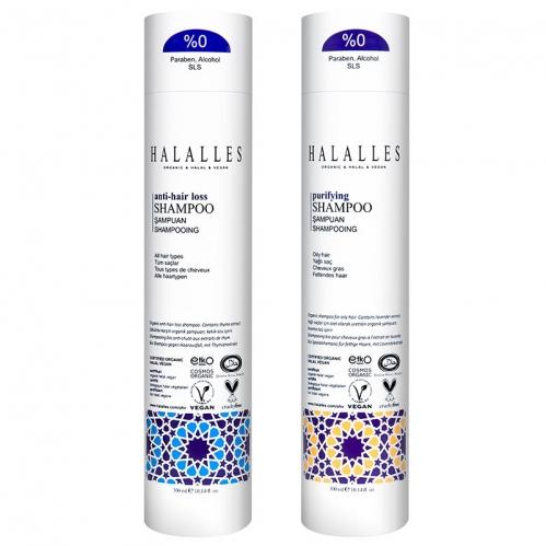 Halalles - Halalles Organik Dökülme Karşıtı Şampuan 300ml + Organik Arındırıcı Şampuan 300ml