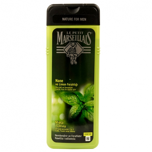 Le Petit Marseillais - Le Petit Marseillais For Men Nane ve Limon Ferahlığı Duş Jeli ve Şampuan 400ml
