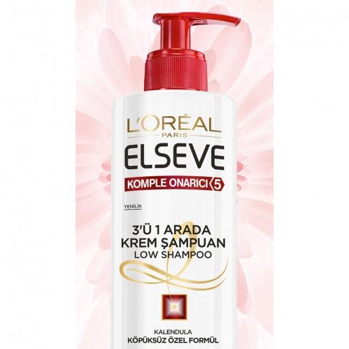 Loreal Paris Ürünleri - Loreal Paris Elseve Komple Onarıcı 3 in 1 Krem Şampuan 400ml