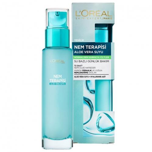 Loreal Paris Ürünleri - Loreal Paris Nem Terapisi Aloe Vera Suyu 70ml - Normalden Karmaya Ciltler