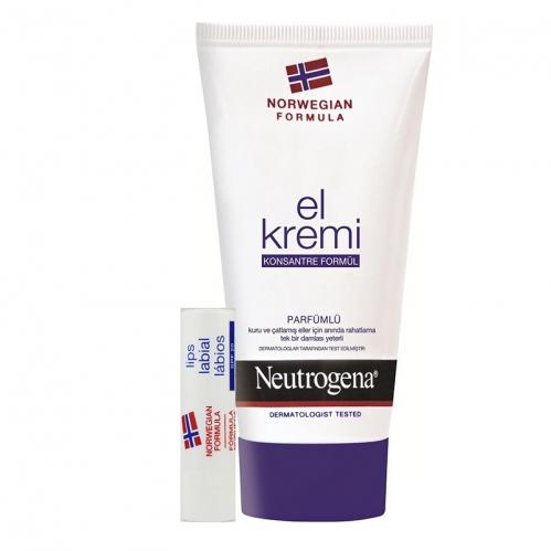 Neutrogena Ürünleri - Neutrogena El Kremi Parfümlü 75ml | Dudak Kremi 4.8gr HEDİYE