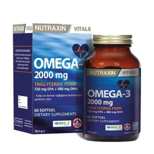 Nutraxin Omega 3 Balık Yağı 2000 mg 60 SoftGel - Thumbnail