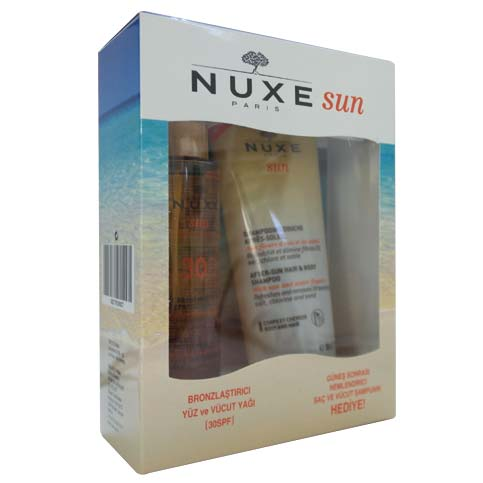 Nuxe Bronzlaştırıcı Yüz ve Vücut Yağı Spf30 150ml + Güneş Sonrası Nemlendirici Şampuan Hediye