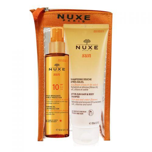 Nuxe Spf10 Bronzlaştırıcı Yüz ve Vücut Yağı 150ml   Güneş Sonrası Şampuan 200ml HEDİYE