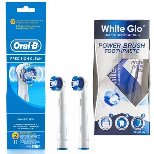 White Glo Ürünleri - Oral-b Precision Clean Diş Fırçası Yedek Başlığı 2 Adet - White Glo Power Brush Toothpaste 65ml