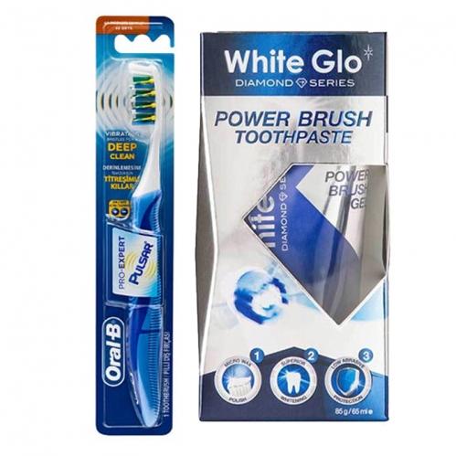 White Glo Ürünleri - Oral-B Titreşimli Diş Fırçası Pro-Expert Pulsar 35 Yumuşak - White Glo Power Brush Toothpaste 65ml
