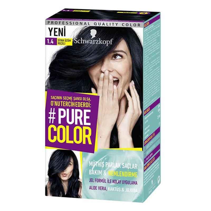 Schwarzkopf Pure Color Sac Boyasi 1 4 Siyah Uzum Receli