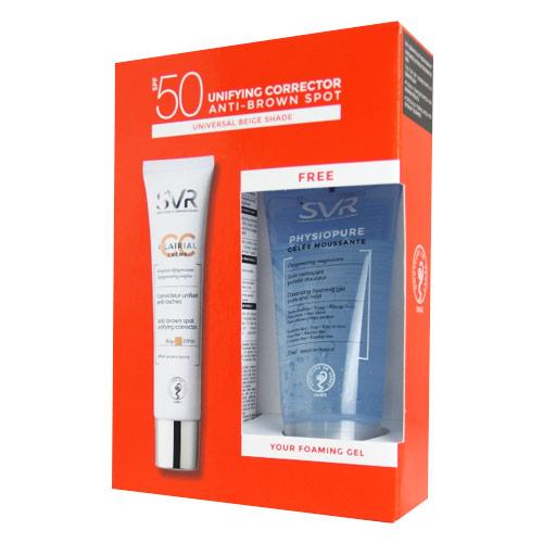 SVR Ürünleri - Svr Clairial CC Creme Light Spf50 40ml + Physiopure Cleansing Foaming Gel 50ml HEDİYE