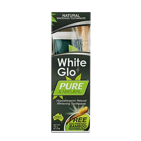 White Glo Ürünleri - White Glo Pure Saf & Doğal Diş Macunu 85ml + %100 Doğal Bambu Diş Fırçası HEDİYE