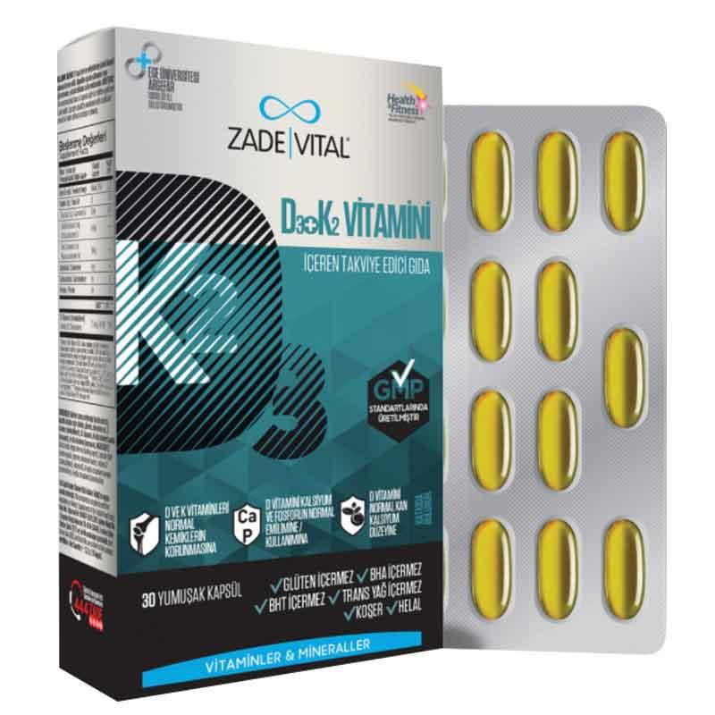 Zade Vital D3 K2 Vitamini Iceren Takviye Edici Gida 30 Yumusak Kapsul Dermoeczanem Com
