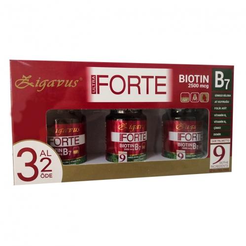 Zigavus Ürünleri - Zigavus Ultra Forte Biotin B7 2500mcg 30 Tablet | 3 Al 2 Öde